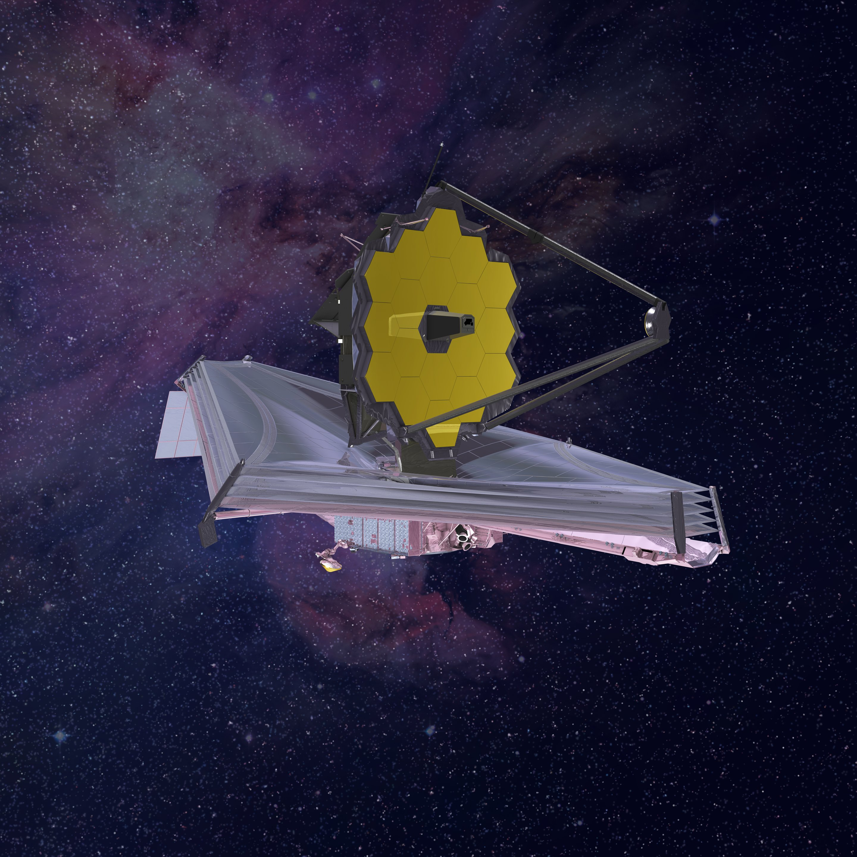 "A artistic concept of the new Webb telescope that could see the formation of the first galaxies. Image : <a href=""https://www.flickr.com/photos/nasawebbtelescope/16678793810/in/album-72157624413830771/"">NASA -Flickr</a>"
