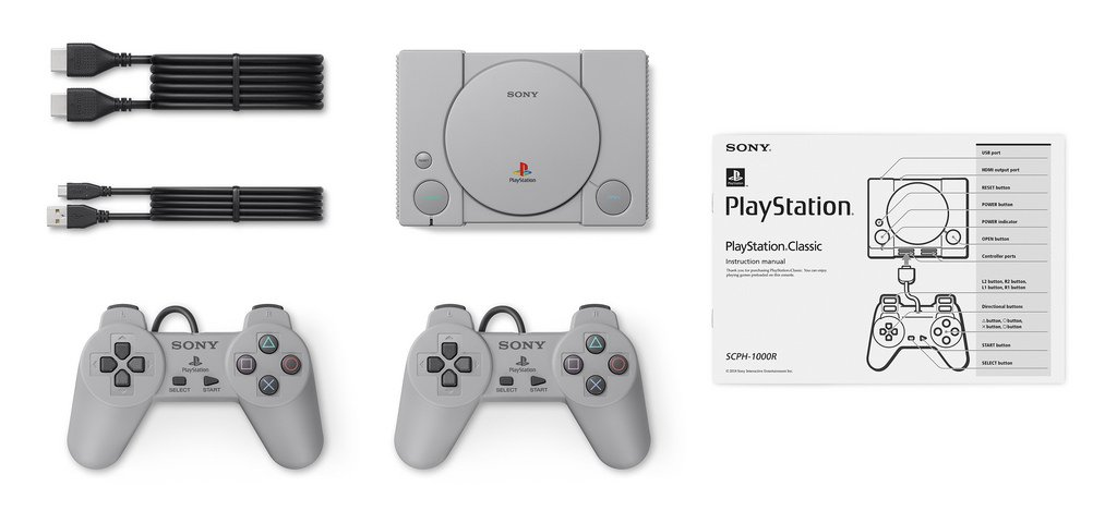 The Playstation Classic will include two controllers, but you will need your own USB AC adaptor. Image: Sony