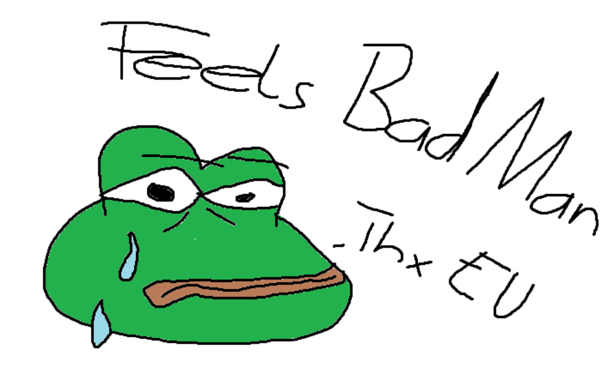 A recreation of the popular 'Pepe the Frog' meme, created by a 4Chan user.
