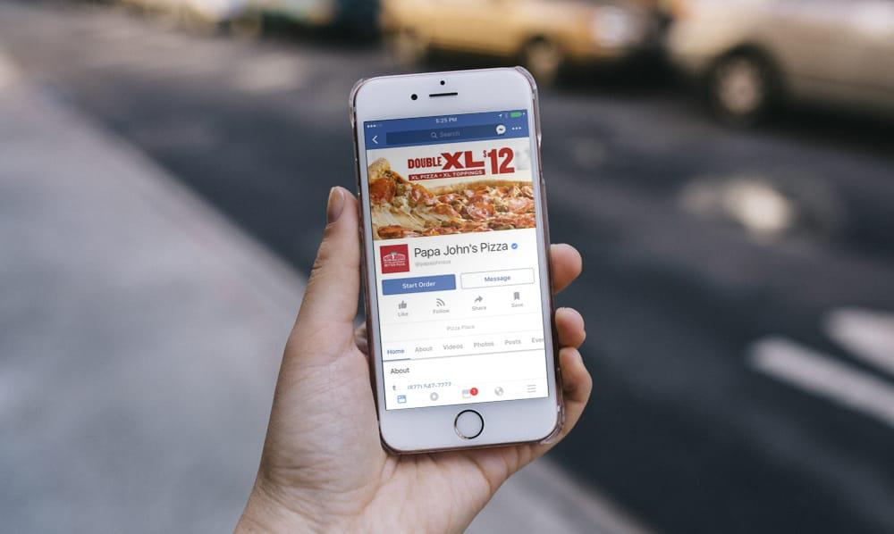 pizza papa johns Facebook button