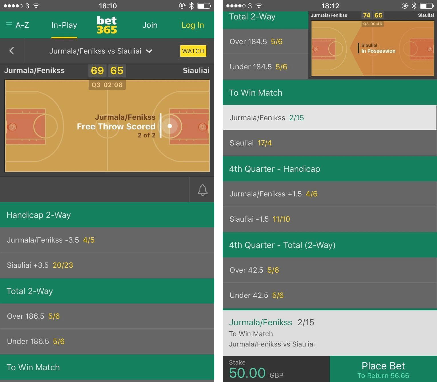 betting bet365 screenshot