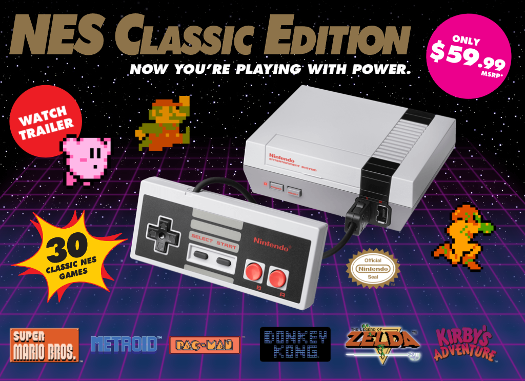 The NES Classic is a release of the Nintendo Entertainment System, released in 1983, and can play just 30 games of the 714 officially licensed Nintendo games for the original. Image: nintendo.com/nes-classic/